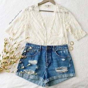 Cream Lace Cropped Butterfly Lace Cardigan